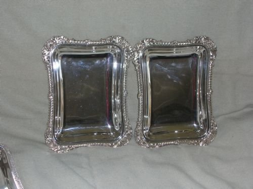 antique pair of silver plated entree dishes - photo angle #3