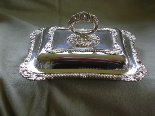 antique pair of silver plated entree dishes - photo angle #4