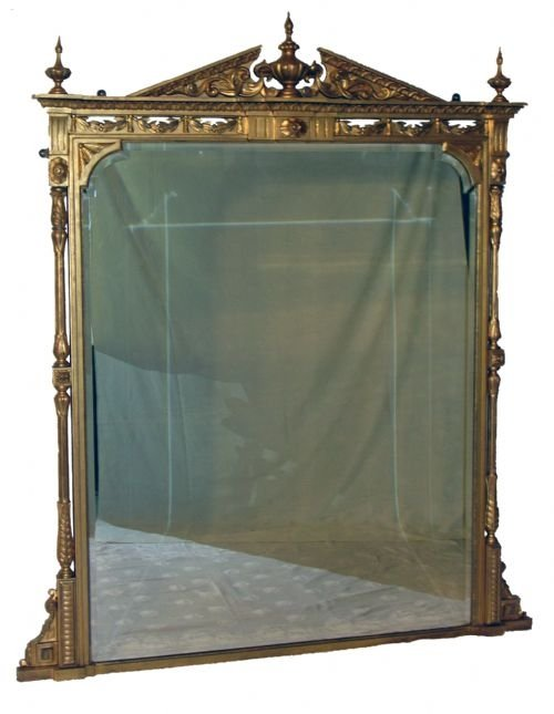 antique large victorian gilt overmantle gilt wood carved wall pier console overmantel mirror c1880