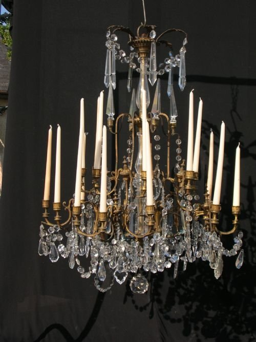 antique large 19th century regency gilt bronze and crystal french chandelier candelabra c1835