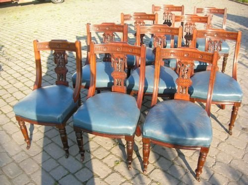 antique set of 12 twelve ten plus two 10 2 walnut 19th century spoon back leather upholstered dining chairs c1870