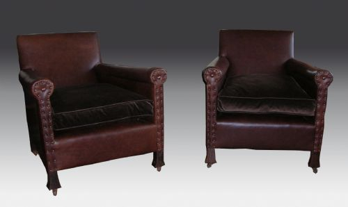 antique pair of leather art deco club upholstered tub fauteuil easy library elbow armchairs arm chairs c1920