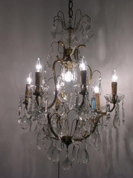 antique brass and crystal chandelier light