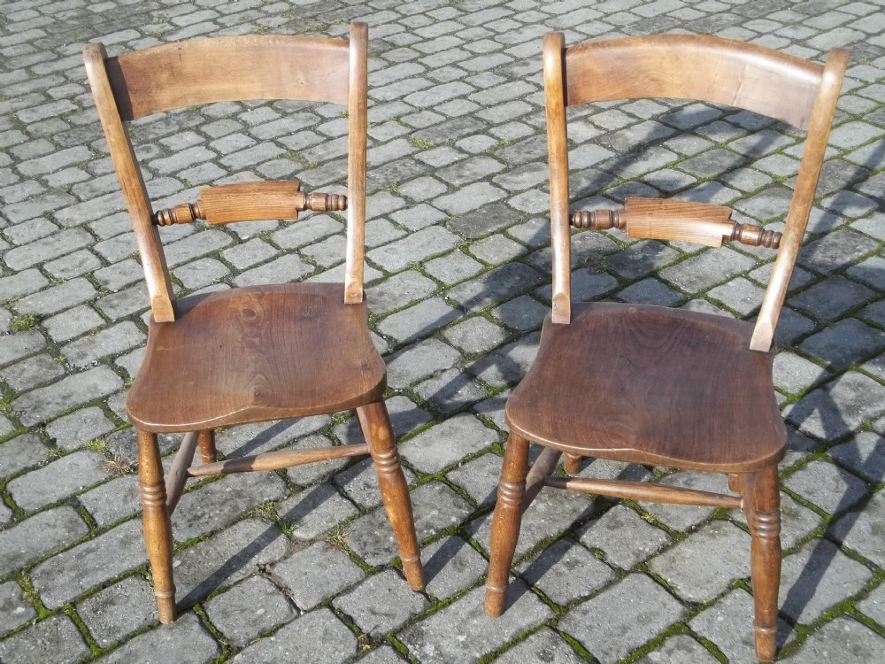 antique pair of elm and beech windsor oxford bar back country