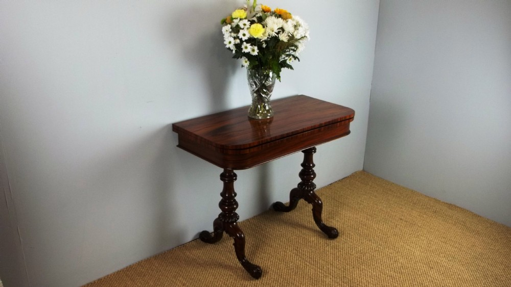 antique stamped gillows lancaster regency goncalo alves games card console pier lamp sofa hall side table of rosewood figuring c1825