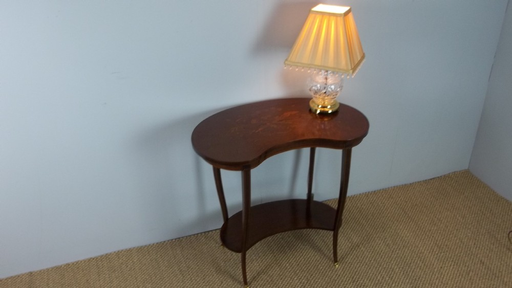 a mahogany marquetry inlaid lamp occasional side winewriting ladies sofa table c1895