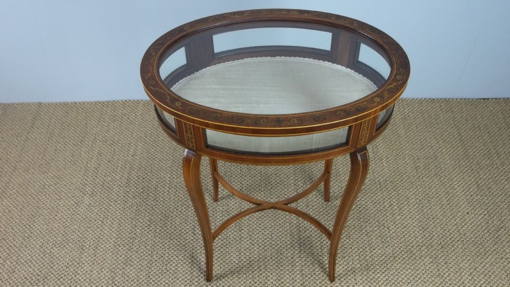 a mahogany marquetry inlaid curio jewellery collectors oval bijouterie table cabinetc1895