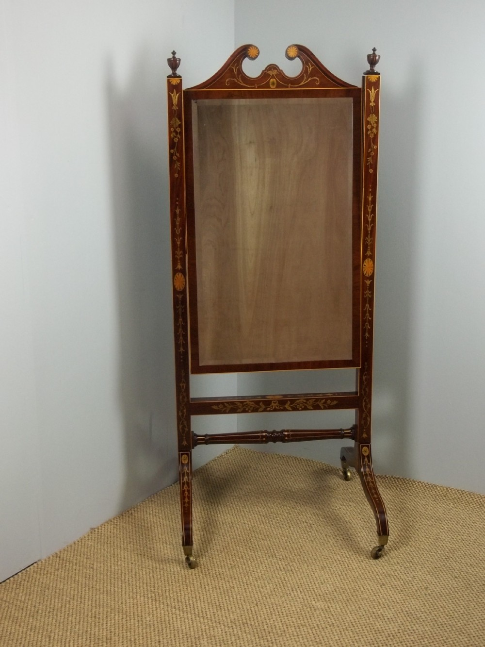 a georgian regency mahogany marquetry inlaid adjustable cheval dressing room looking glass mirror c1800