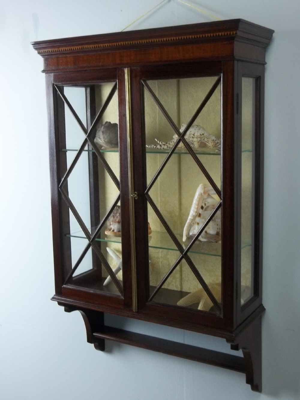 Edwardian Mahogany Small Narrow Inlaid Hanging Glazed Wall Display Cabinet  C1900