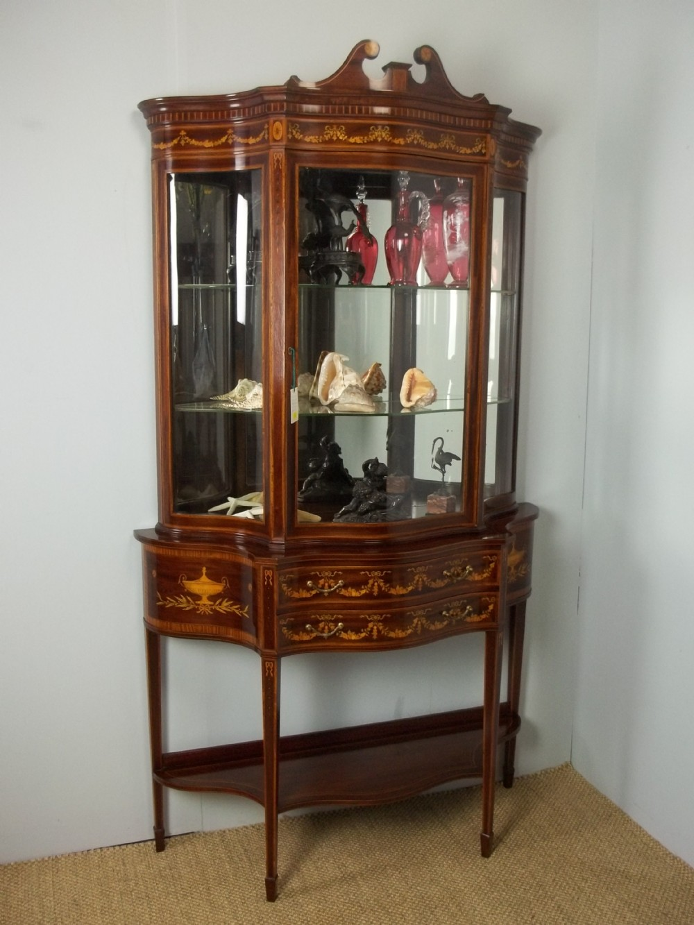 antique stamped edwards and roberts mahogany marquetry inlaid serpentine fronted collectors display cabinet vitrine