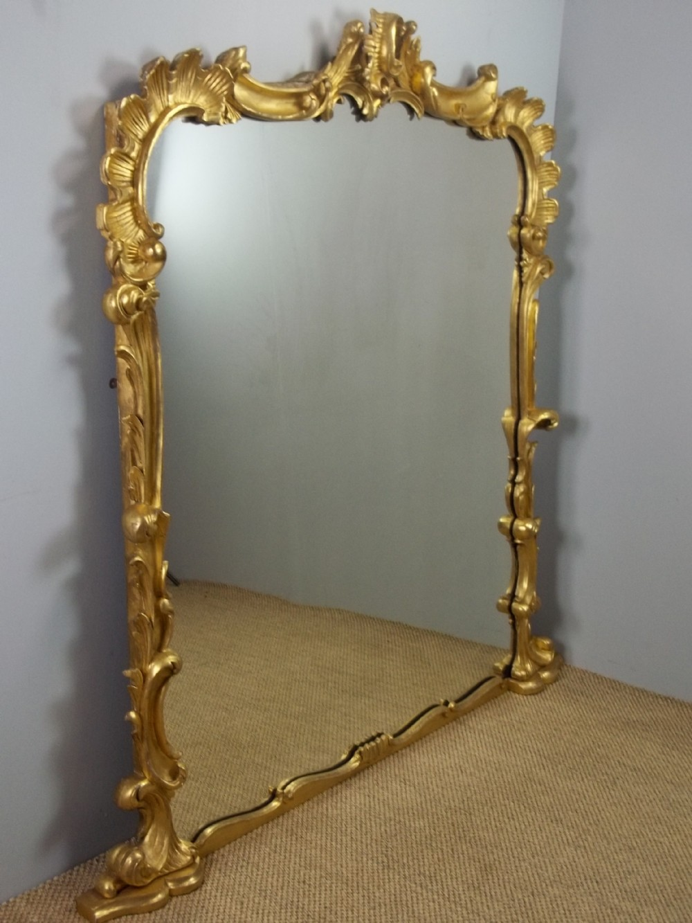 a stunning large regency rococo antique solid carved gilt wood overmantel overmantle wall pier console gilded mirror c1830
