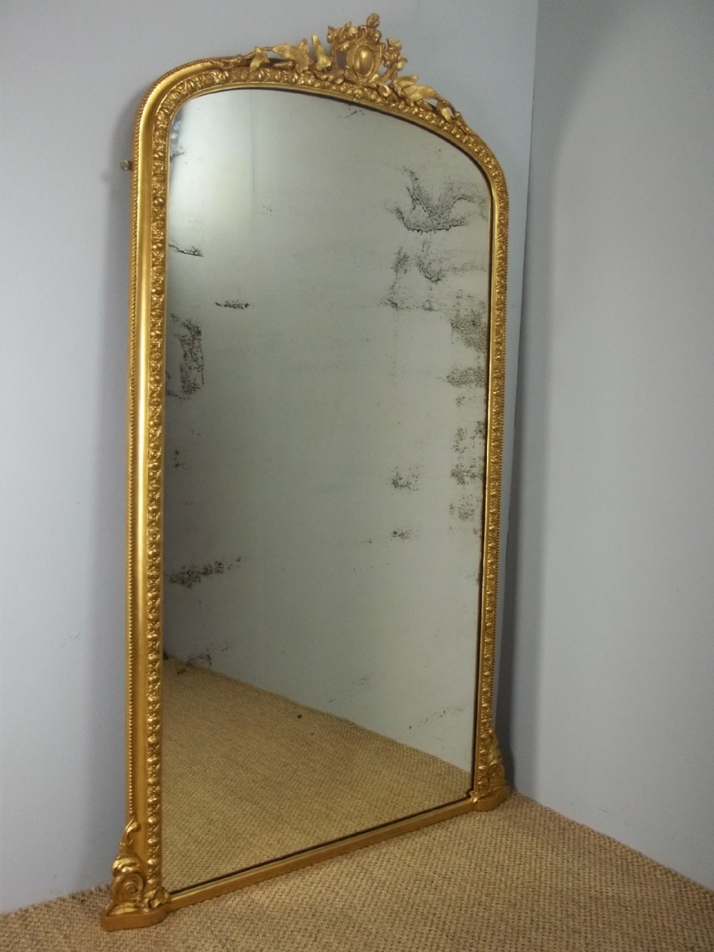 antique large gilt pier console cheval dressing room wall tall narrow overmantel overmantle looking glass mirror c1860