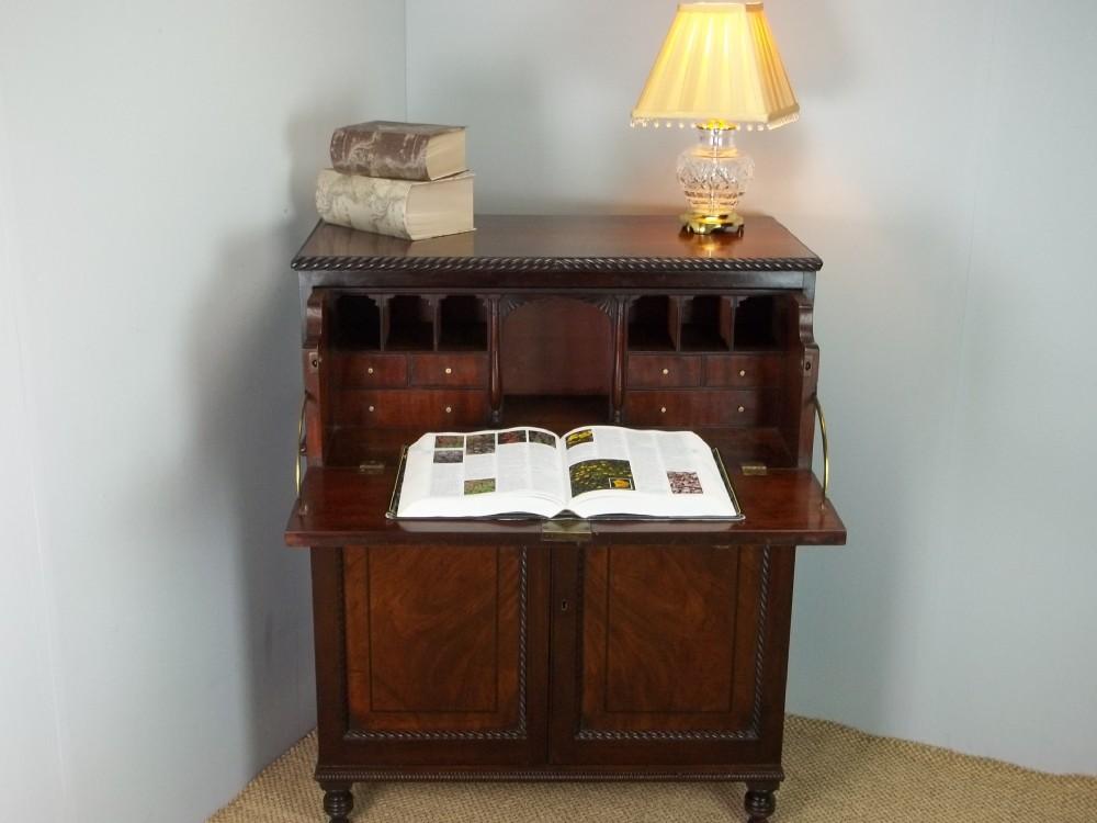 antique georgian regency small mahogany secretaire bureau chiffonier writing bureau table chest desk side cabinet cupboard c1815