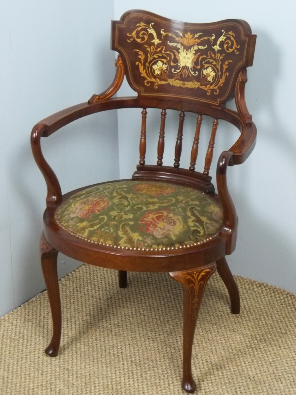 antique edwardian mahogany marquetry inlaid office desk upholstered occasional easy library elbow open armchair c1900
