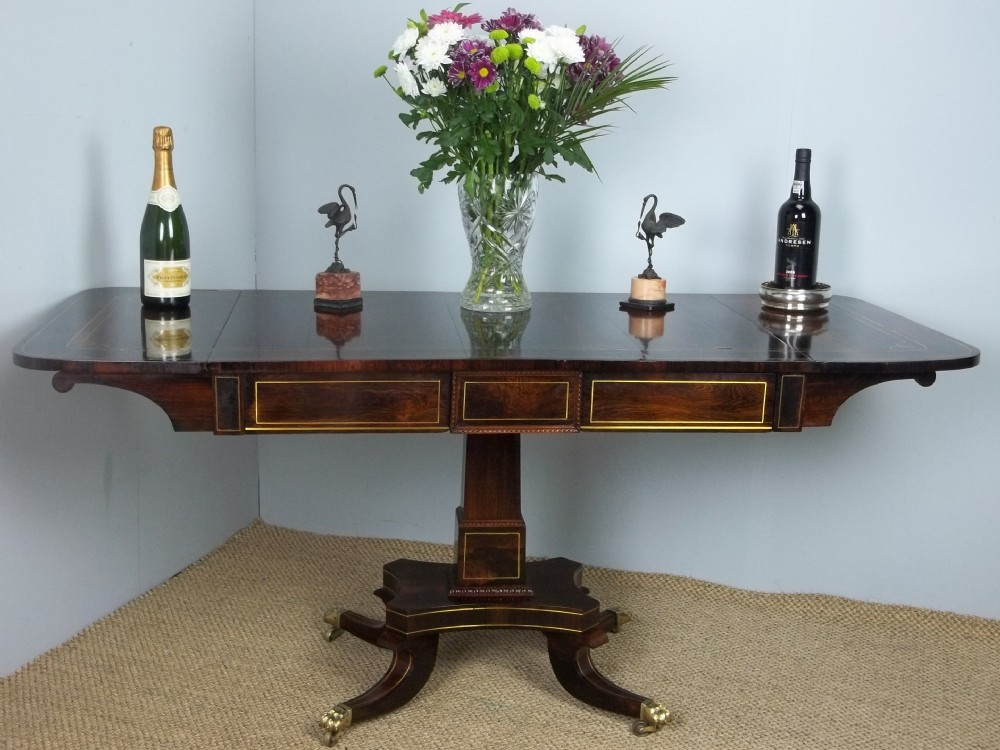 a superior antique regency georgian brass inlaid rosewood sofa table c1815