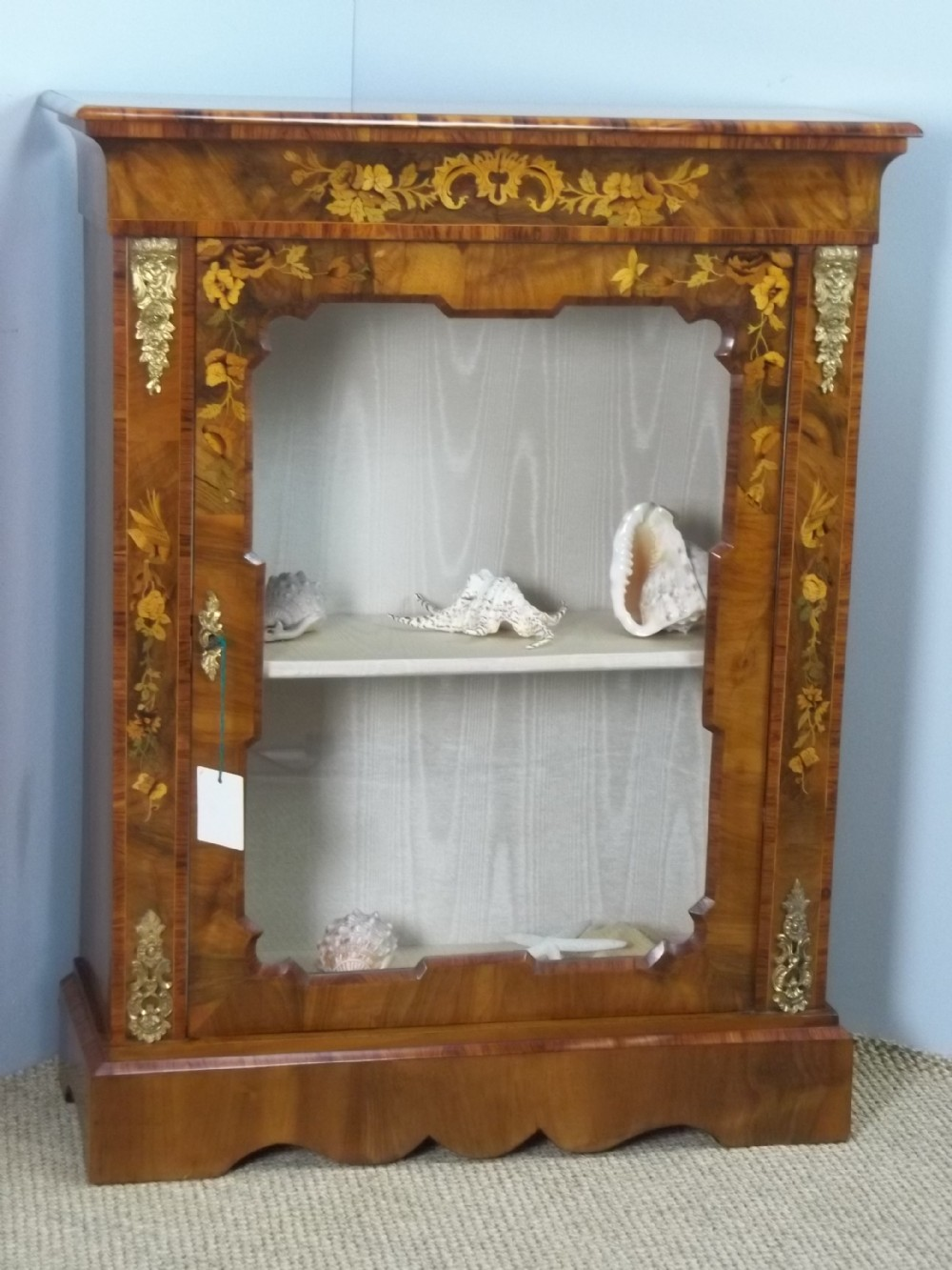 antique 19th century victorian walnut marquetry satinwood inlaid pier console vitrine display side narrow cabinet collectors credenza with gilt bronze mounts c1860