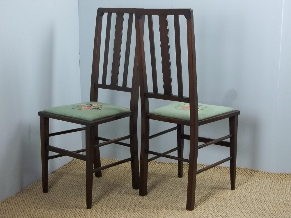 a pair of edwardian antique hand stitched tapestry upholstered and mahogany stained hall side occasional salon desk bedroom chairs c1900