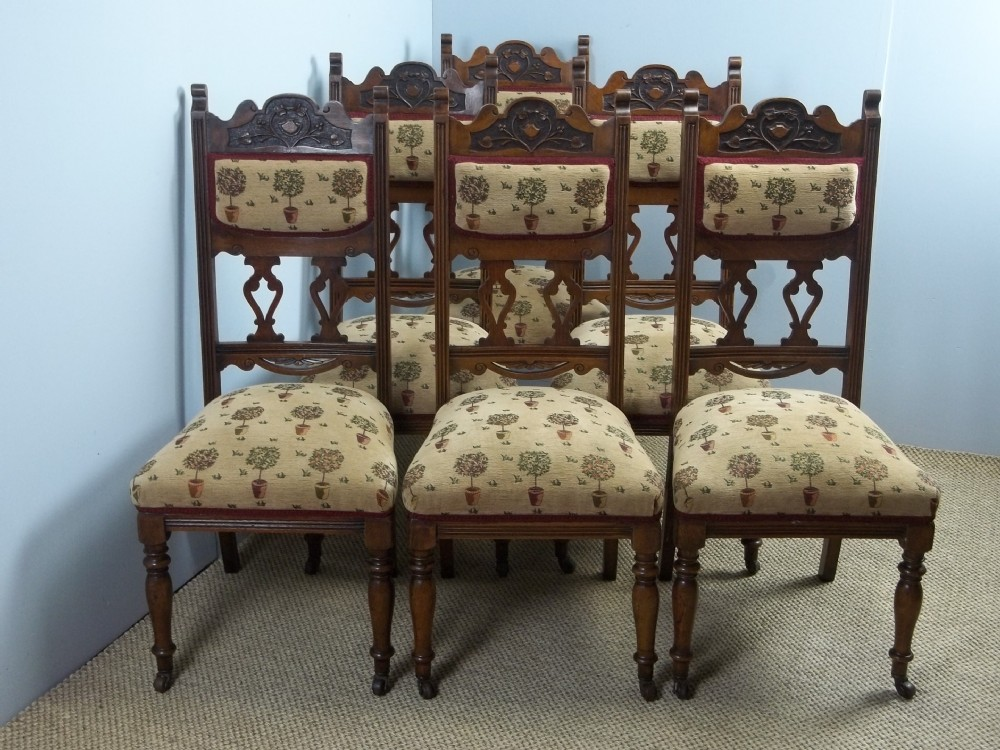 a set of six antique upholstered solid oak framed art nouveau or arts and crafts farmhouse kitchen dining chairs c1890