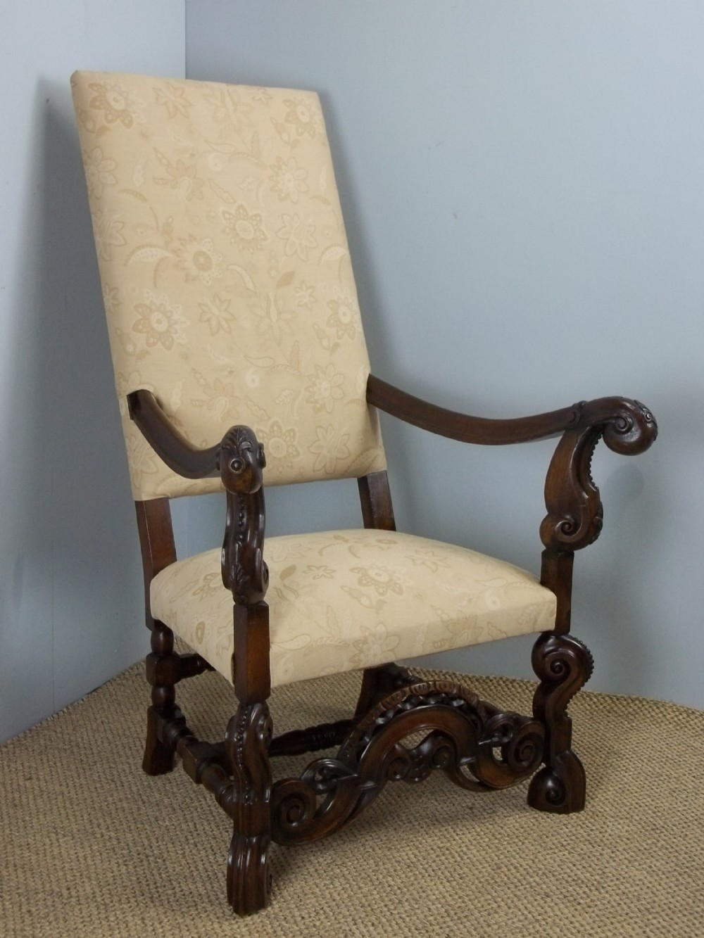 a fabulous quality 19th century carolean design carved walnut chair suitable as a hall library porters upholstered easy large open elbow armchair c1895