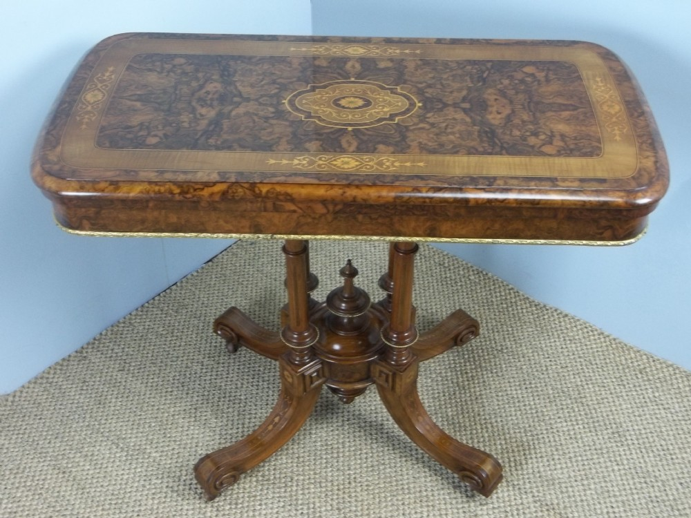 a superior gillows burr walnut and maple gilt bronze mounted marquetry inlaid card games lamp hall sofa side console pier table c1850