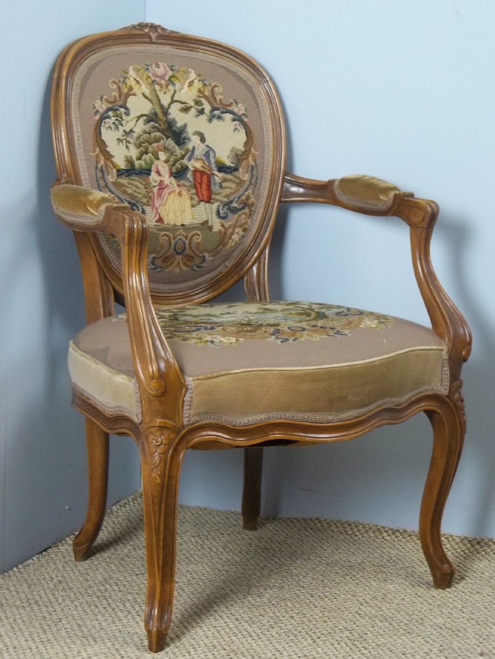 a fabulous quality french hand stitched needlepoint tapestry upholstered french louis xv design fauteuil walnut and beech framed salon cameo chair of easy tub reading library hall occasional open elbow armchair design c1900