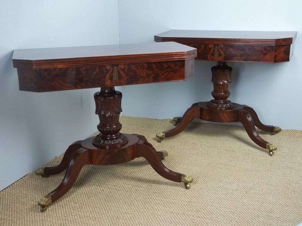 a fabulous pair of antique regency georgian federal philadelphia american signed mahogany games card tea hall sofa side pier console lamp tables c1810