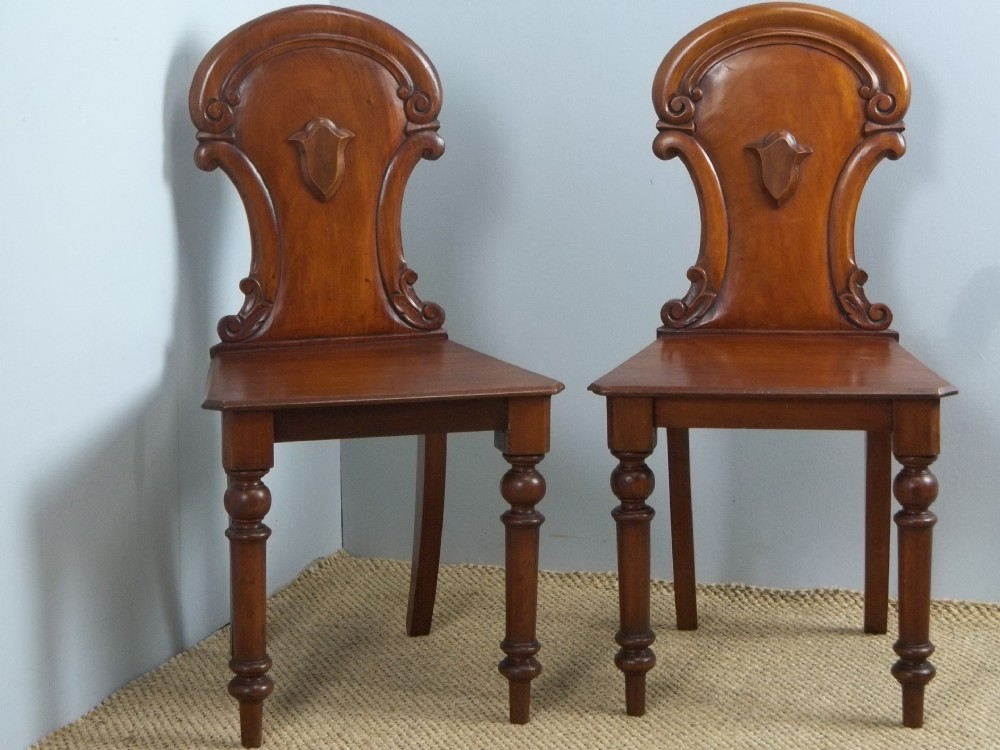 antique pair of late regency early victorian mahogany hall side chairs c1840