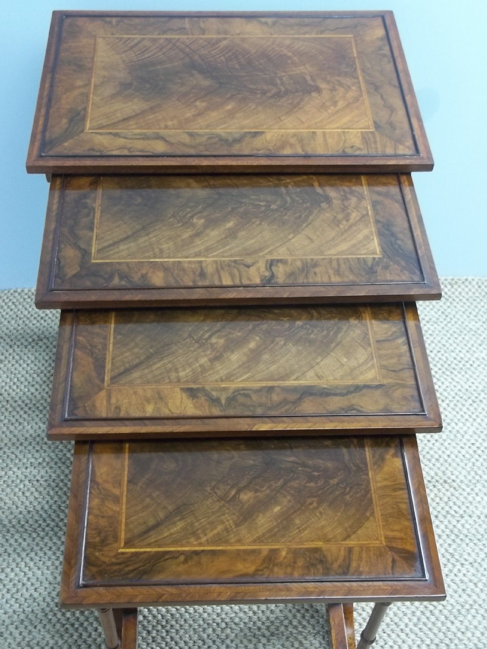 antique 19th century quartetto nest of four stacking walnut lamp side sofa occasional wine tables c1850