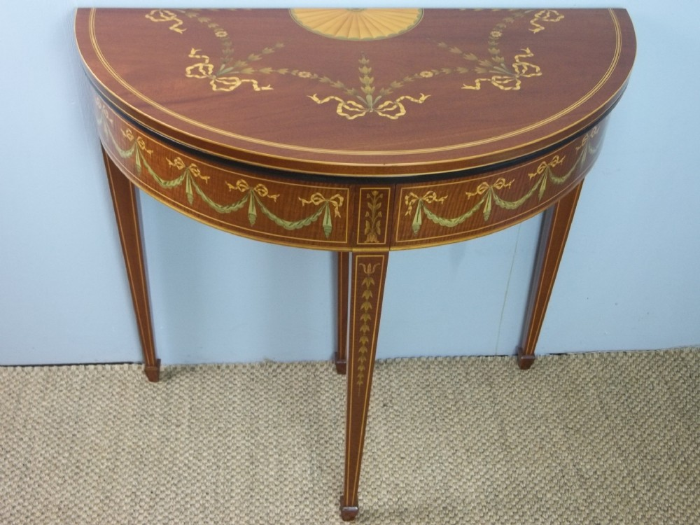 a superior edwardian mahogany marquetry inlaid demi lune card hall games lamp side semi circular console pier table c1900