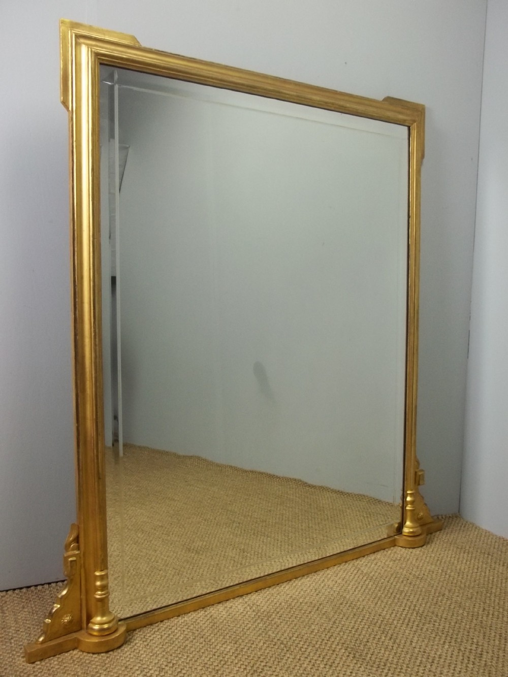 antique rare art deco english gilt wood overmantle pier console table gilded wall overmantel mirror c1920