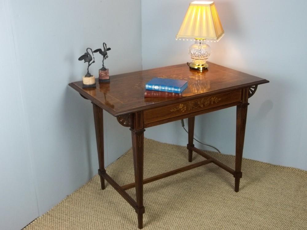 antique elegant 19th century marquetry inlaid ladies writing desk bureau plat of centre lamp sofa hall console pier table design c1870