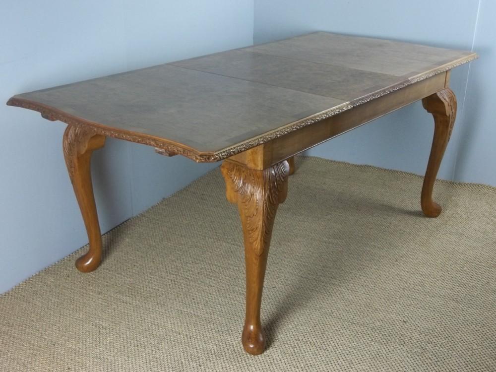antique queen anne design burr walnut extending eight to ten seat art deco dining table c1930