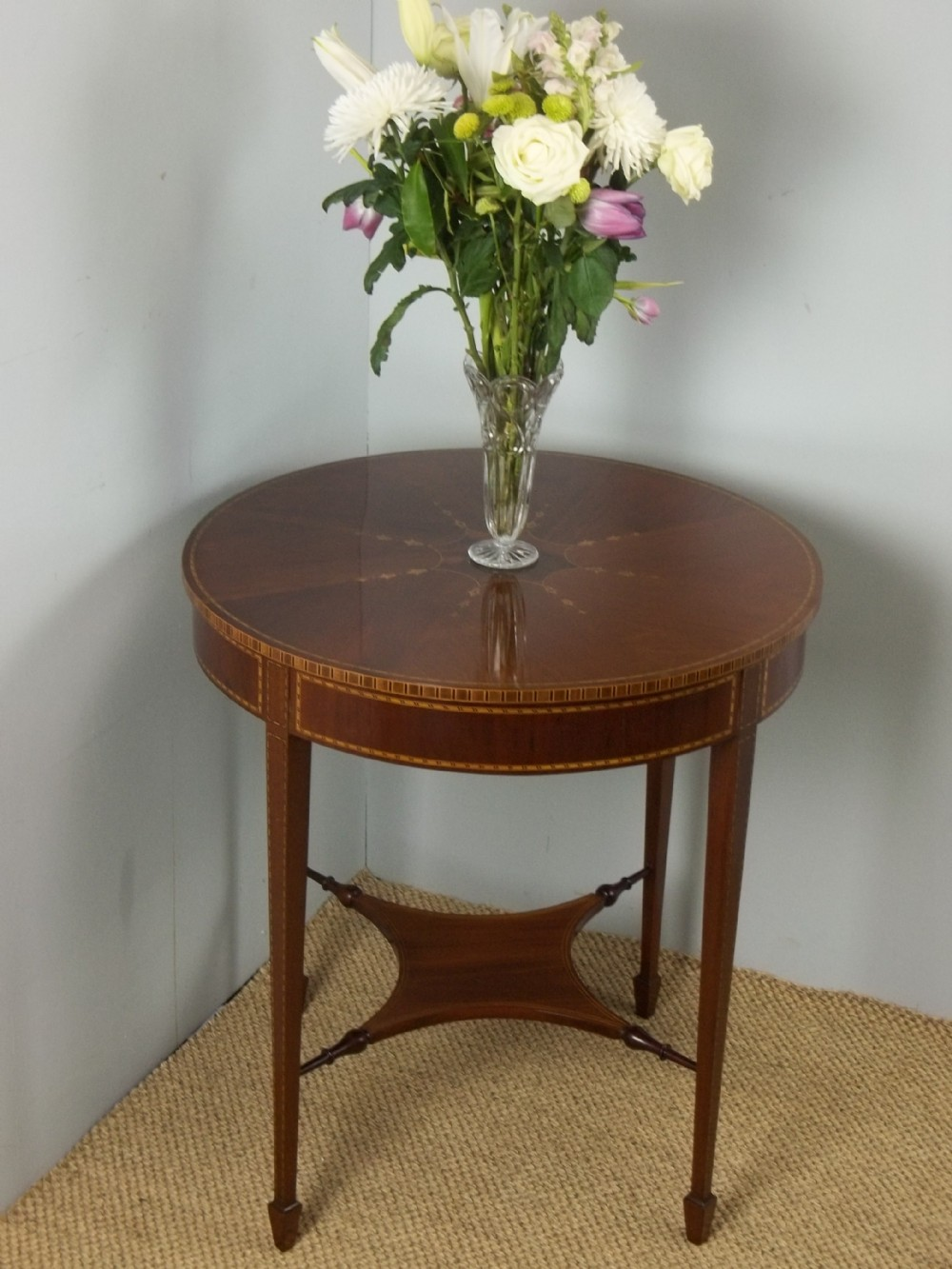 antique circular marquetry inlaid mahogany round centre lamp occasional table c1900