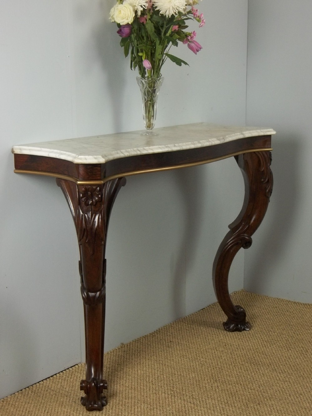 antique stunning quality regency rosewood console pier hall side table with serpentine shaped marble top c1830