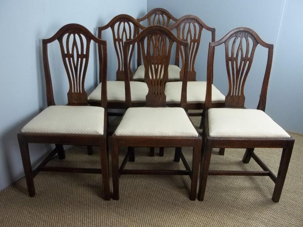 antique set of six 19th century oak camel back georgian design upholstered  dining chairs c1870 - Antique Set Of Six 19th Century Oak Camel Back Georgian Design