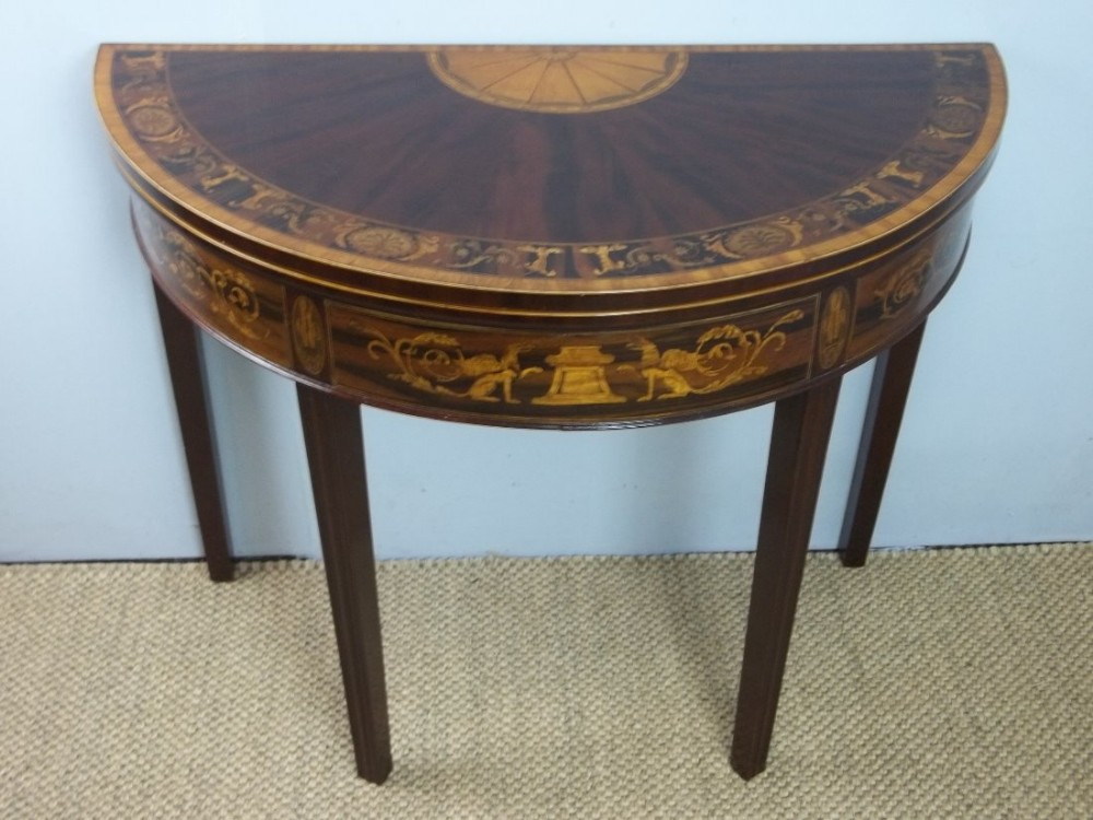 antique demi lune sheraton 18th century mahogany rosewood and marquetry inlaid card table of half moon semi circular design