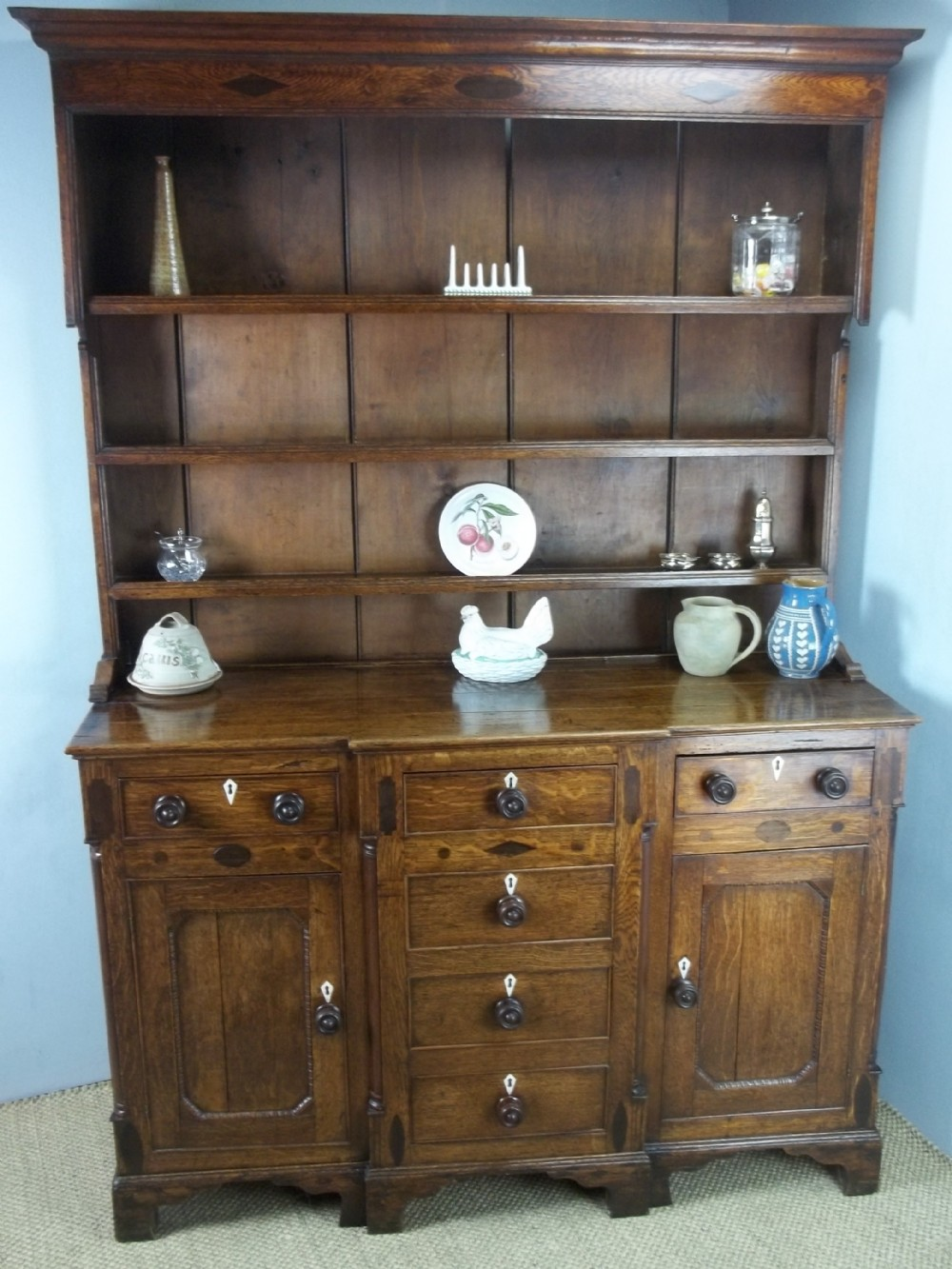 antique welsh small georgian anglesey oak breakfront dresser base and rack c1800