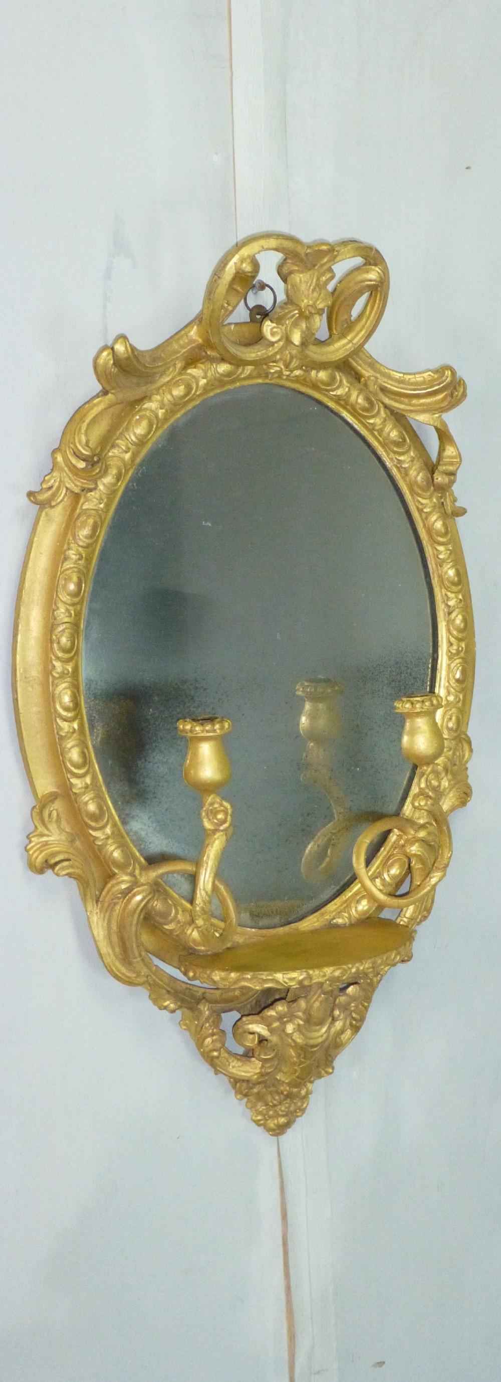 antique 19th century english gilt girandole oval wall looking glass mirror c1860