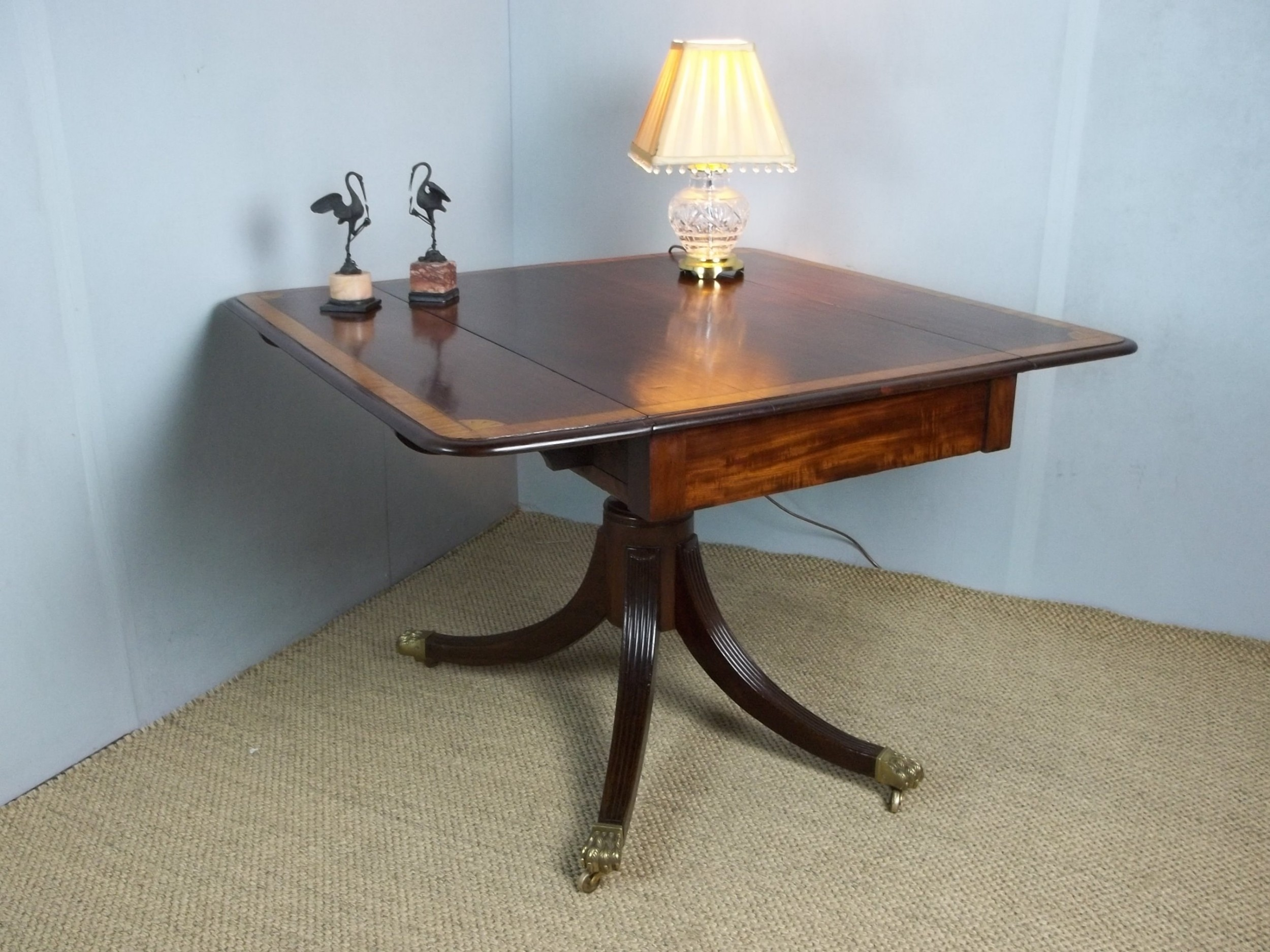 antique regency georgian mahogany and satinwood inlaid pembroke sofa hall dining lamp side centre table c1810