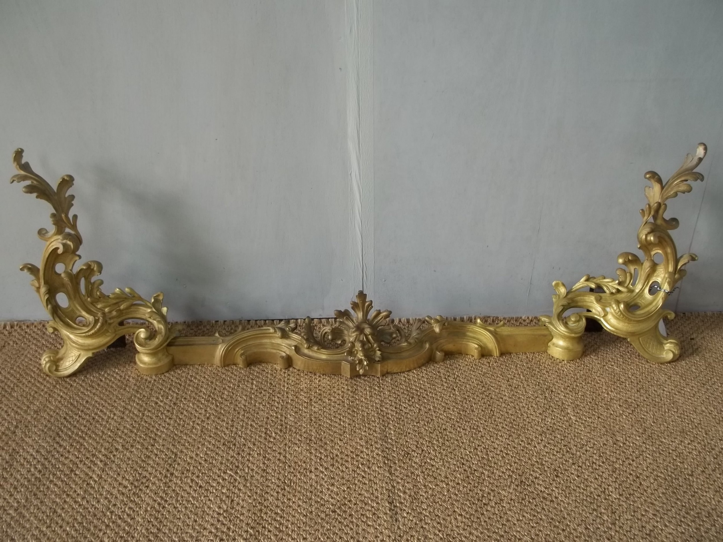 antique pair of 19th century ormolu gilt bronze rococo chenets of fireside adjustable fender form c1860