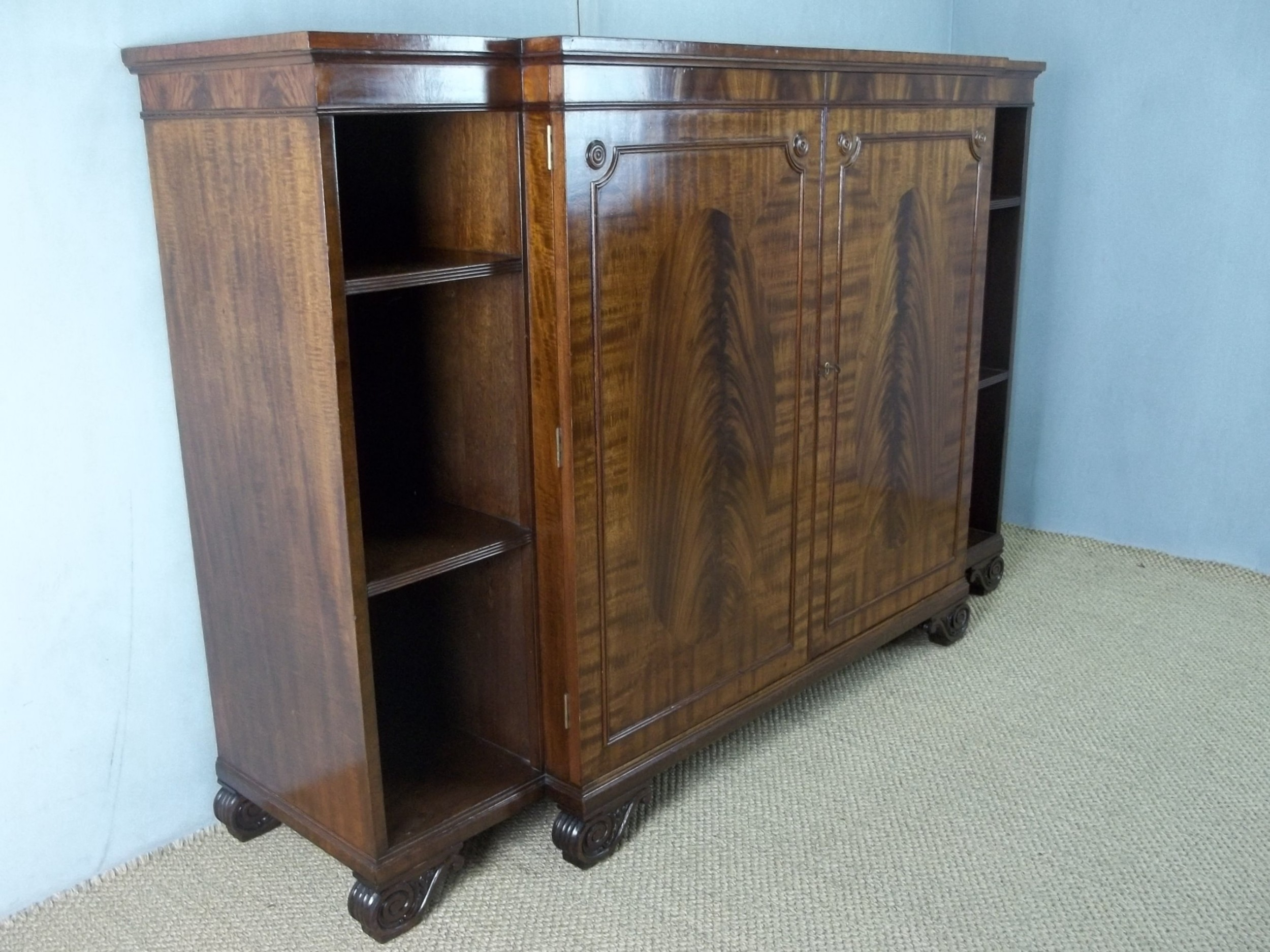 antique mahogany open breakfront bookcase chiffonier sideboard credenza of regency hepplewhite design c1910