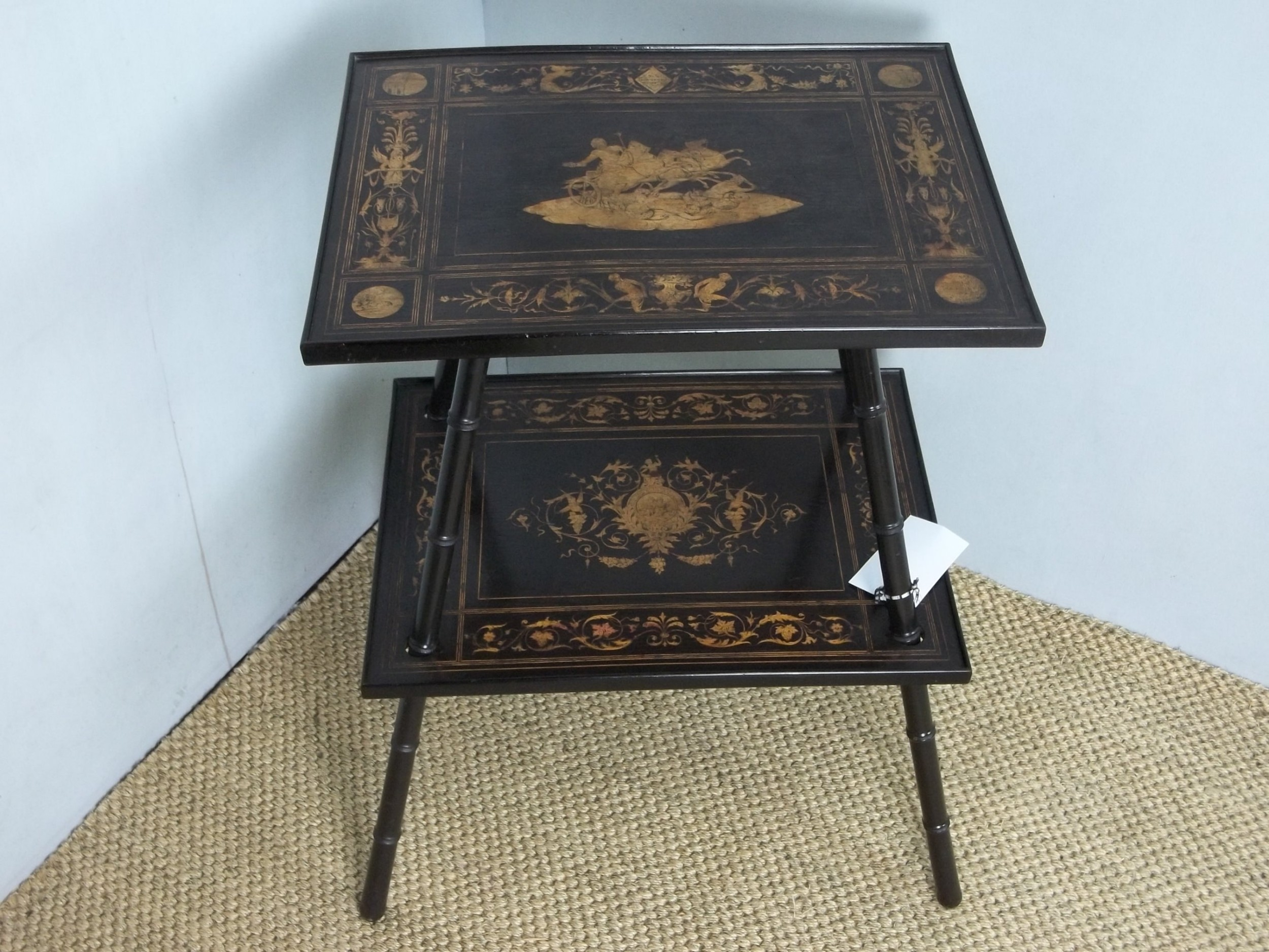 a rare design and signed antique marquetry inlaid sorrento lamp side occasional hall table