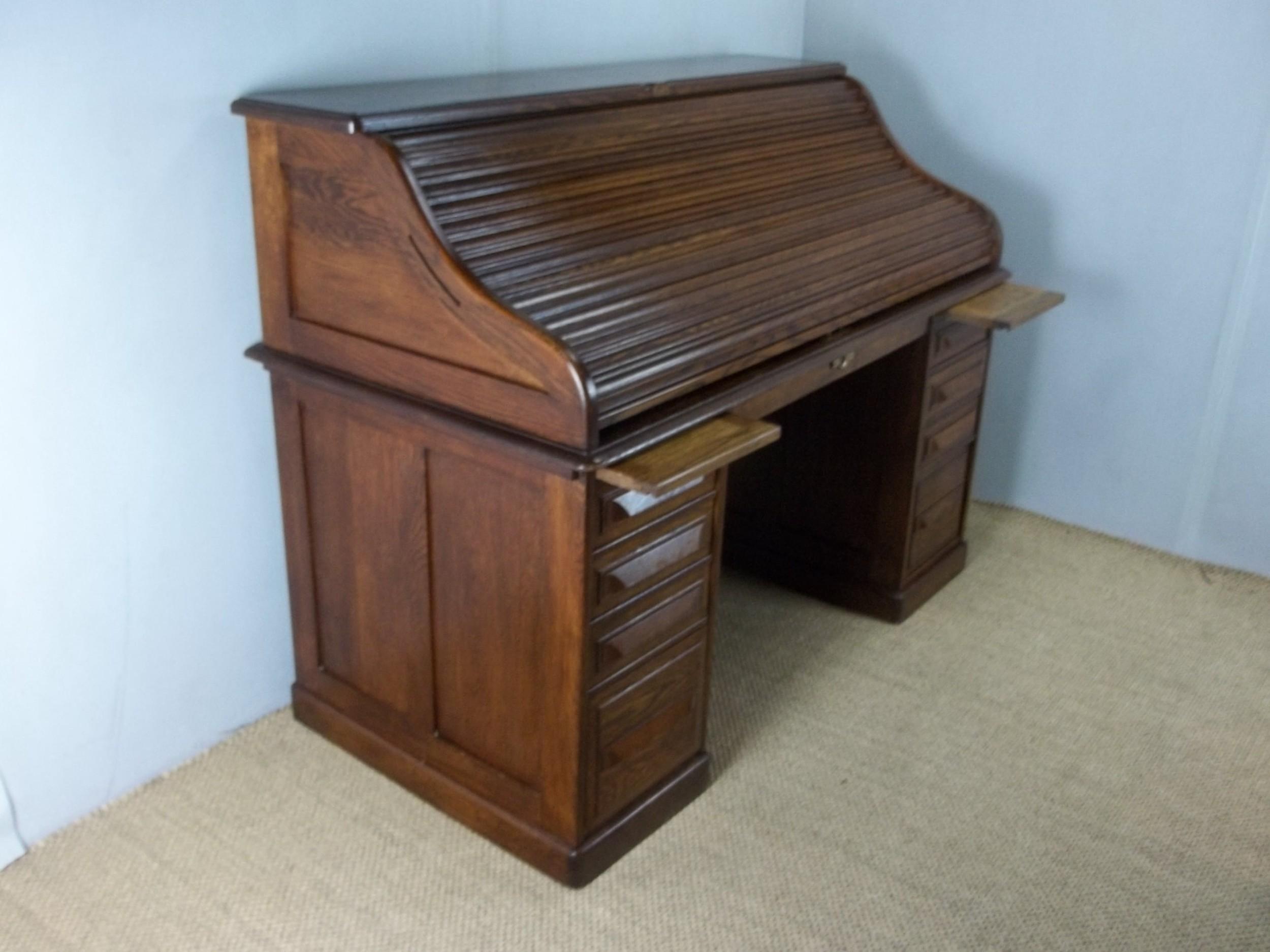 Antique Oak Large Roll Top Desk Signed Cutler 536387
