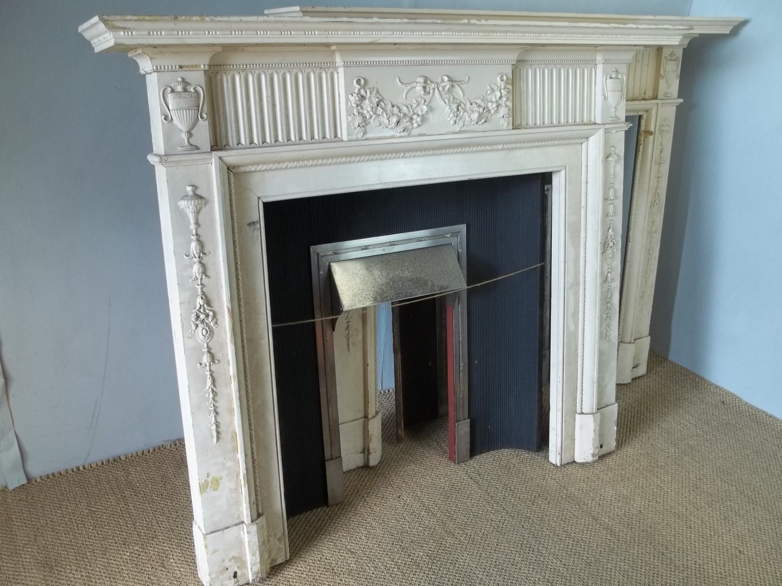 a rare pair of antique 19th century regency georgian adam style painted pine fire surround places and inserts
