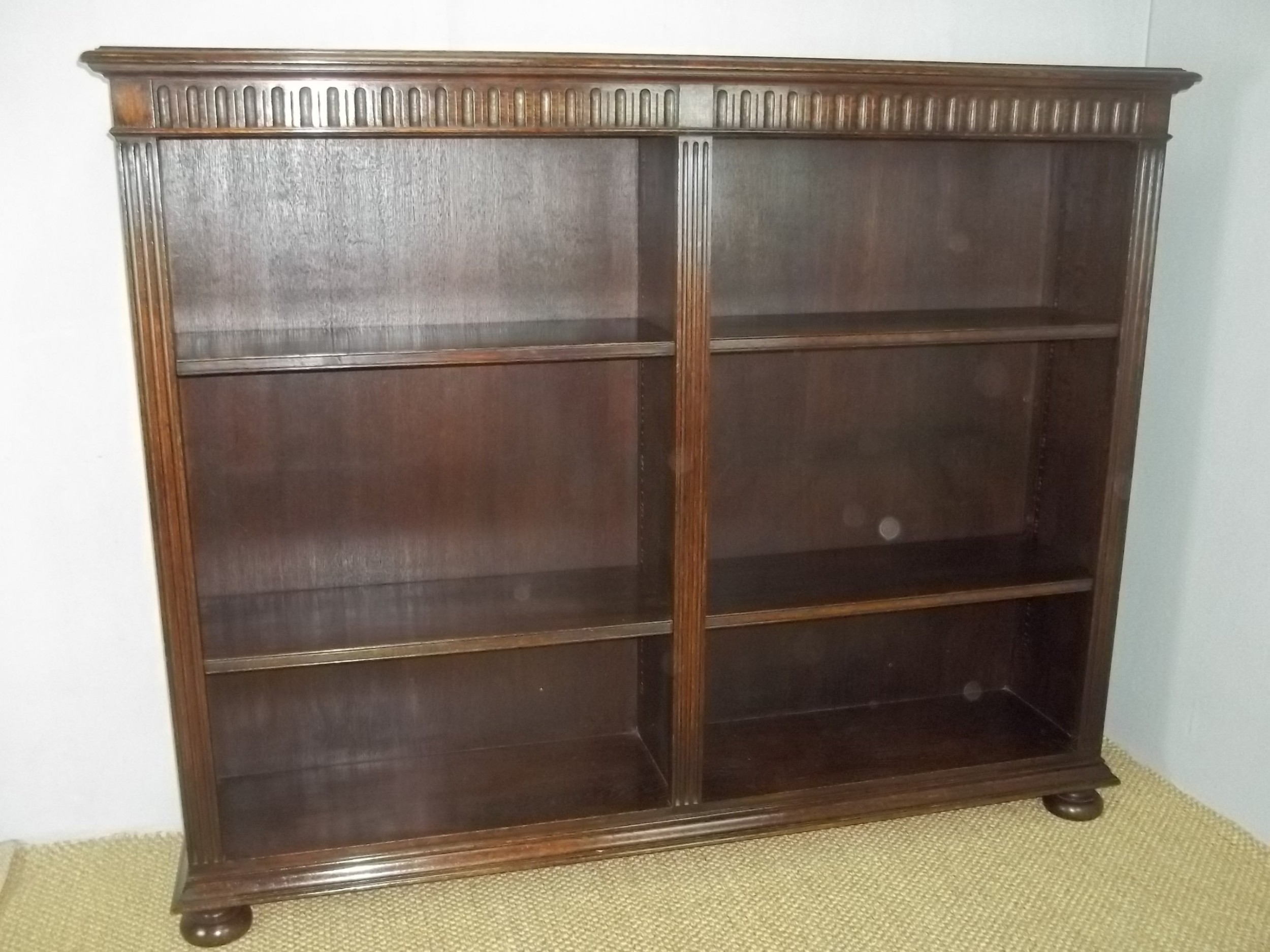 antique oak stamped waring and gillows late 19thearly 20th open set of adjustable bookshelves bookcasec1900