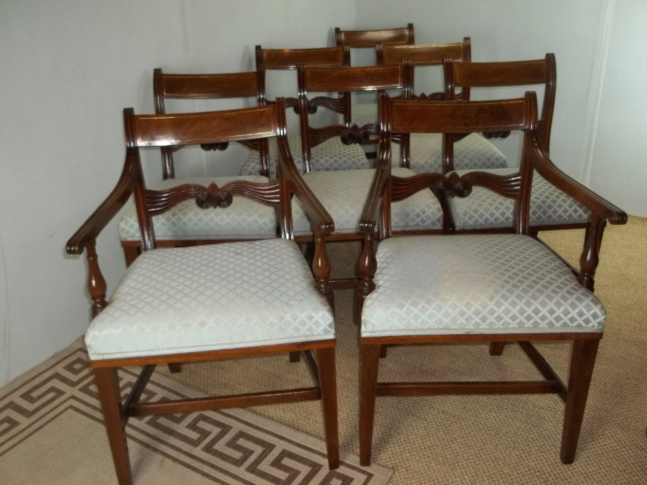 a superb antique set of 8 eight six plus two regency brass inlaid mahogany upholstered dining chairs