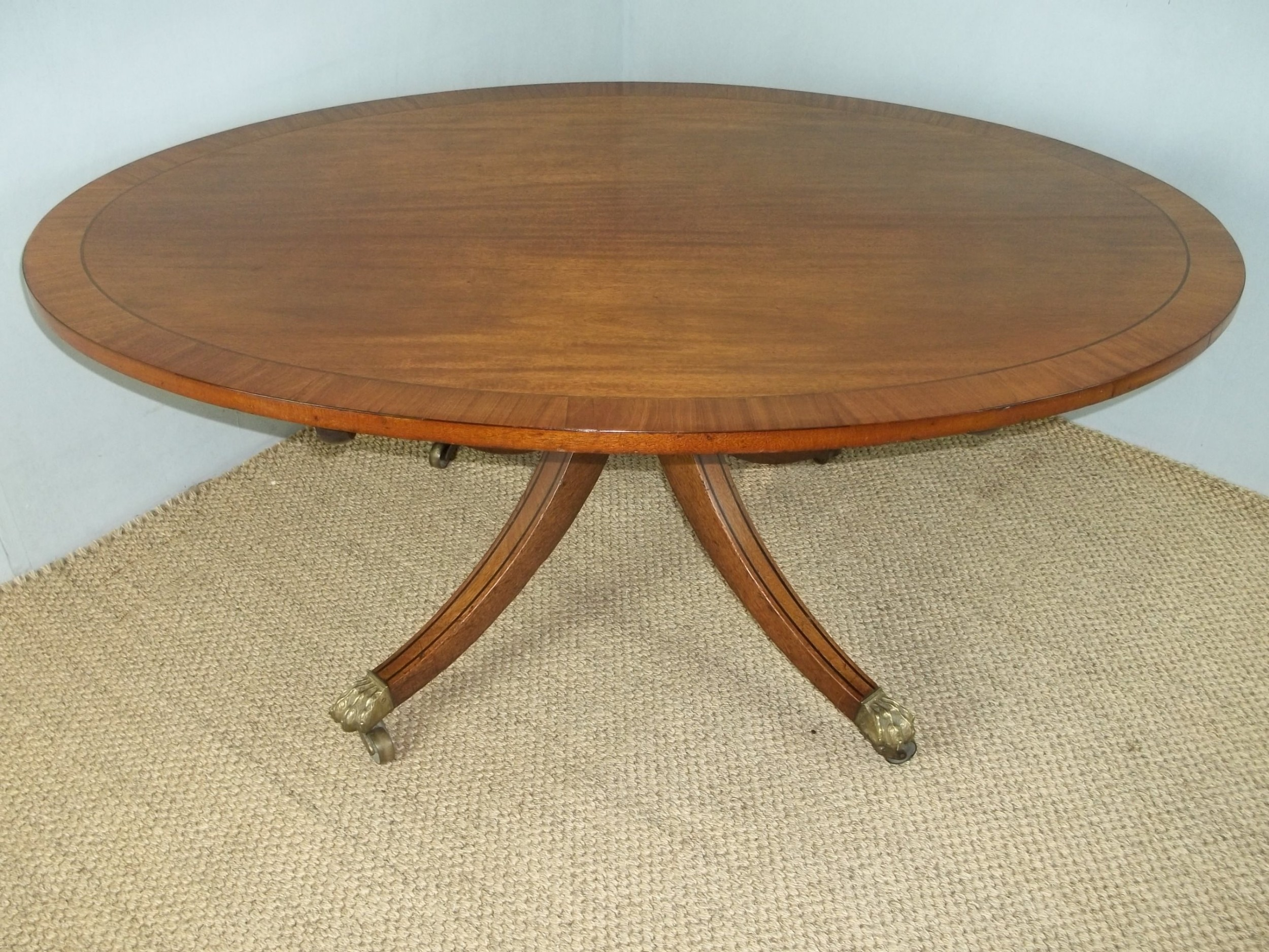antique regency georgian mahogany inlaid cross banded oval coffee table
