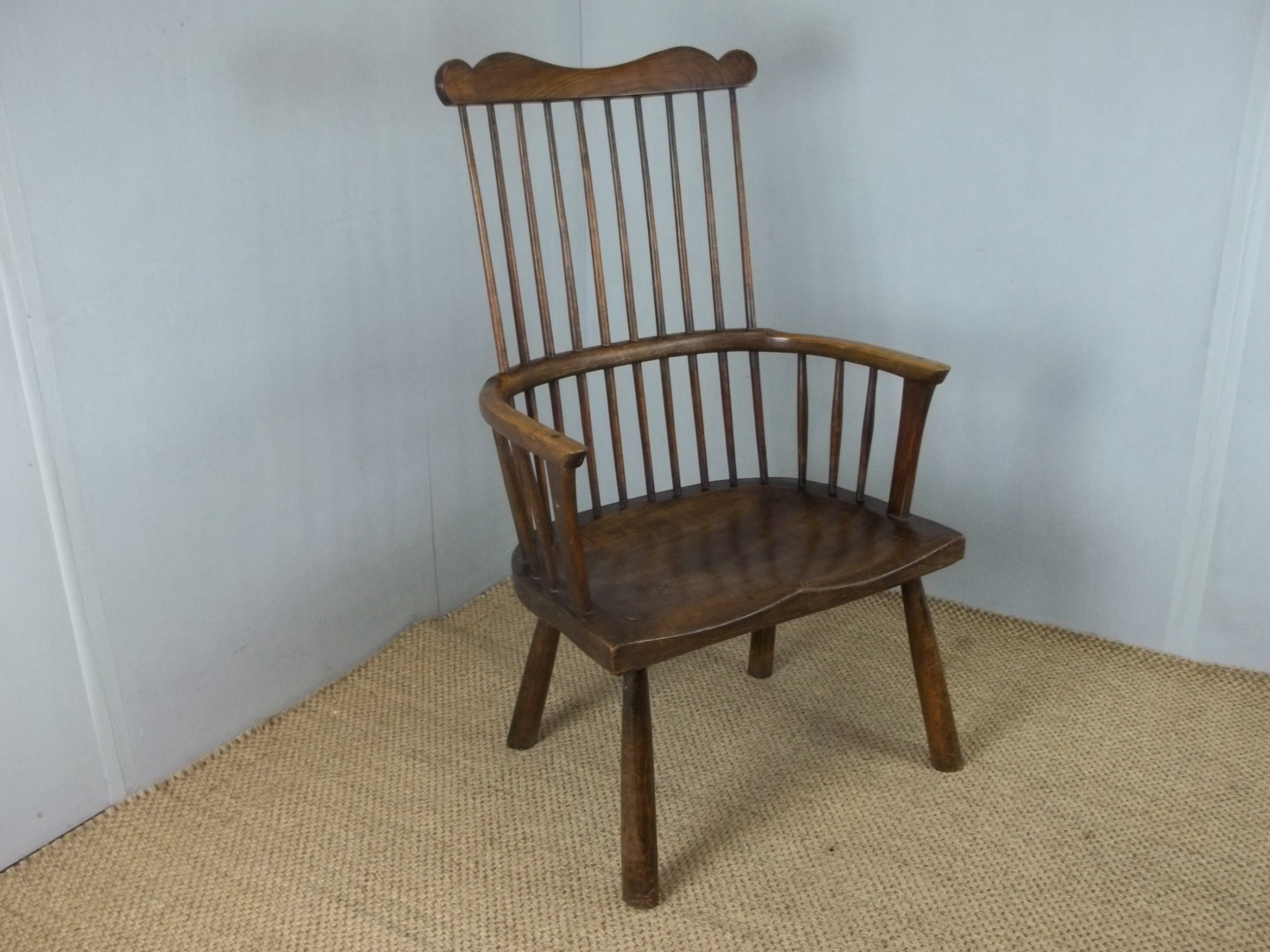 antique 18th century primitive design welsh windsor comb back elm ash and beech stick elbow arm chair