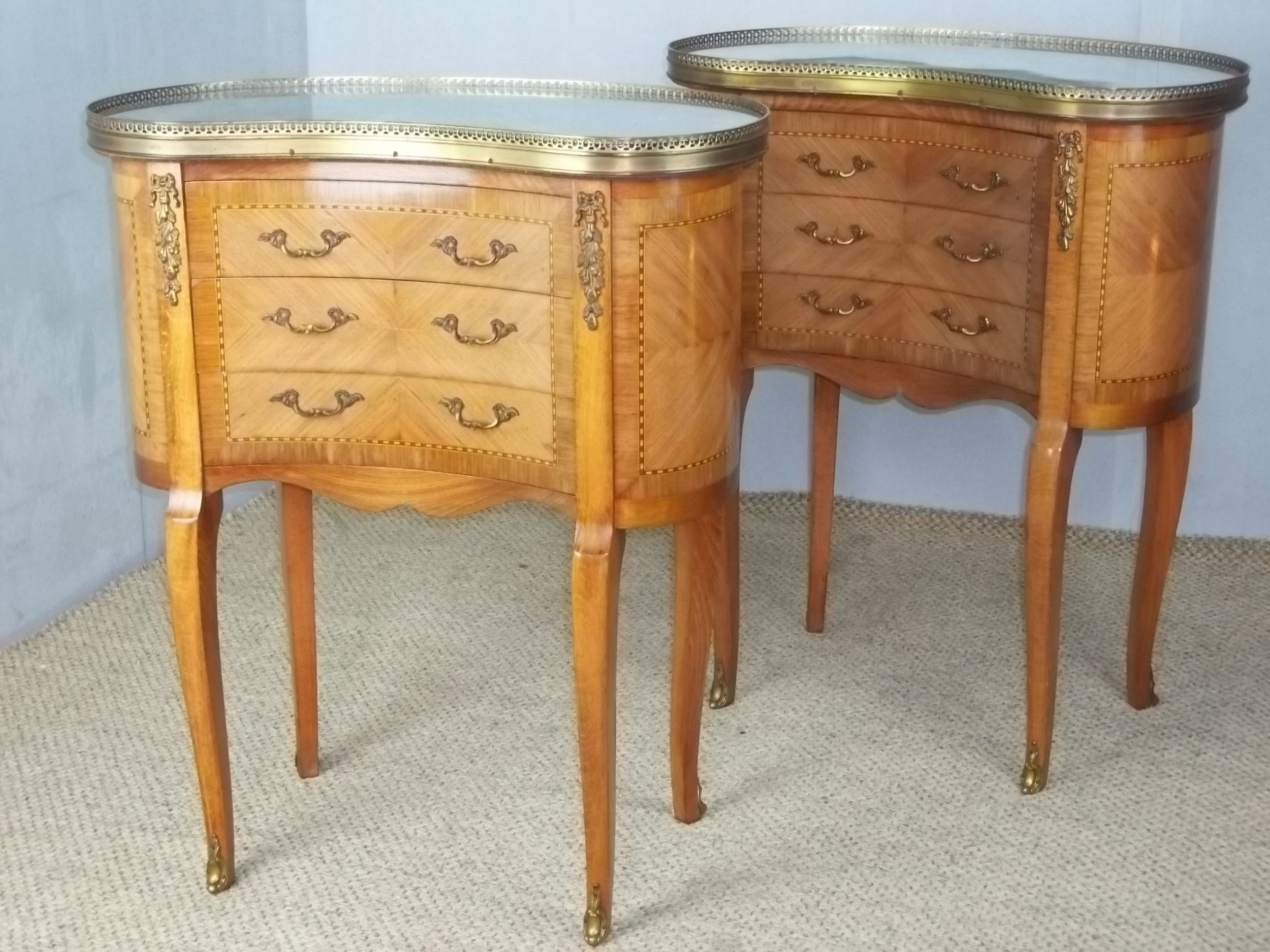 a pair of antique walnut french inlaid bedside lamp chests with flat marble table top and gilt bronze ormolu mounts