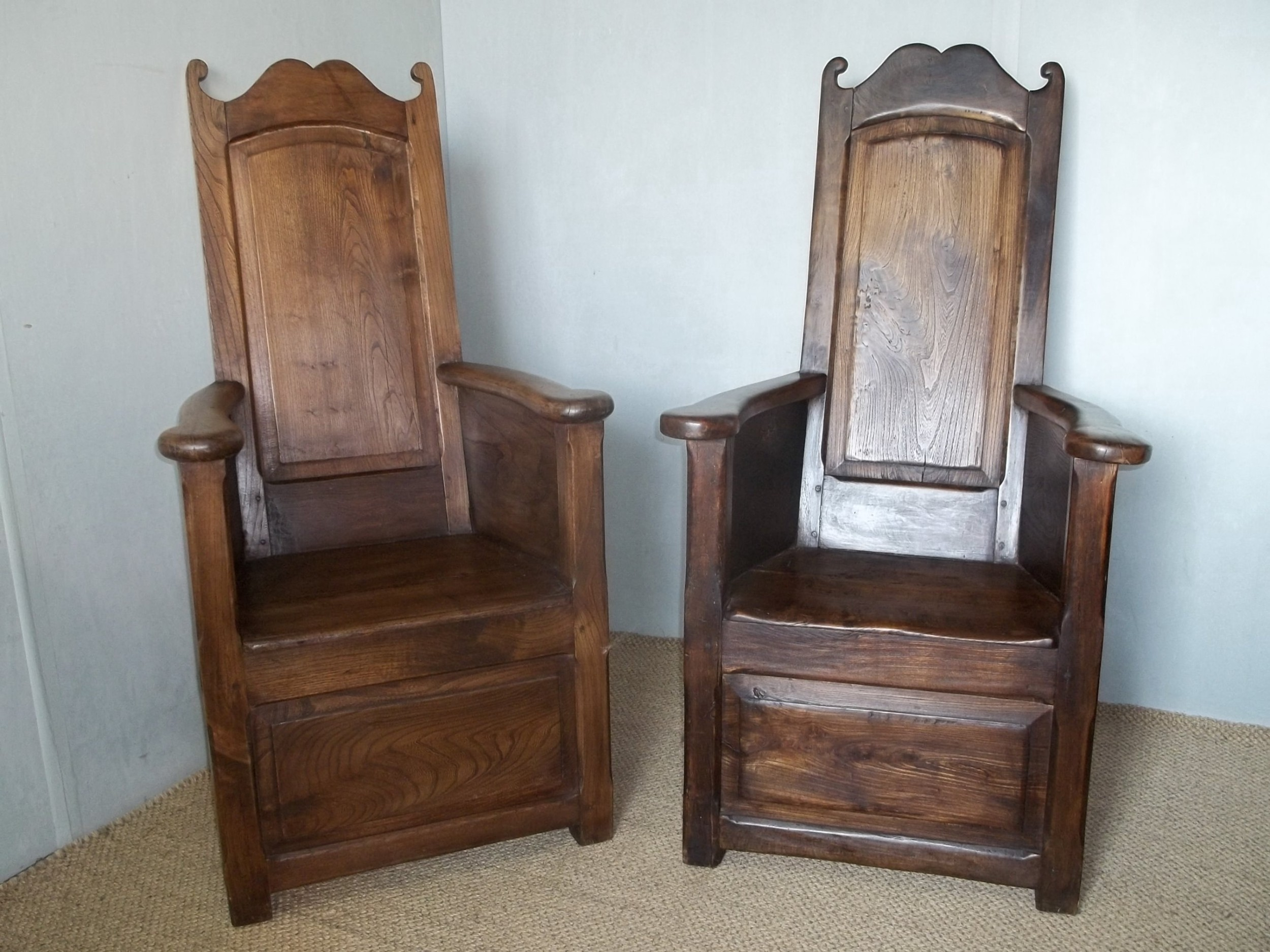 extremely rare matched pair of elm 18th19th century lambing wainscot hall reading fireside arm elbow oak alder chairs